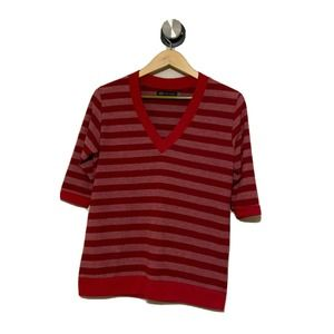 JET John Eshaya Red Striped VNeck Sweater Knit Top